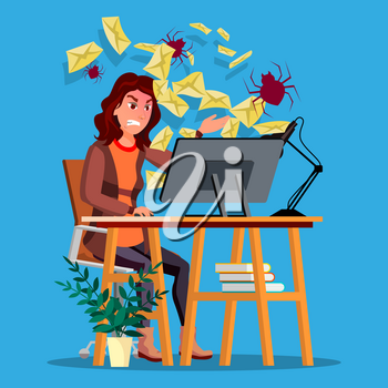 Spam Virus Concept Vector. Woman. Internet Security. Hacker Online. Data Protection. Cyber Safety. E-mail Alert. Trojan Protect. Flat Cartoon Illustration