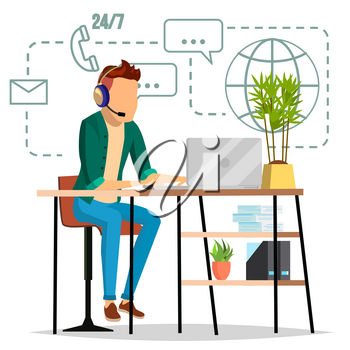 Technical Support Vector. 24 7 Support Working. Online Tech Support. Flat Isolated Illustration