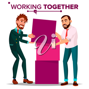 Working Together Concept Vector. Businessman. Busy Day. Co-workers. Business People. Cartoon Illustration