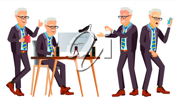 Old Office Worker Vector. Face Emotions, Various Gestures. Businessman Person. Smiling Executive, Servant, Workman, Officer Isolated Character Illustration