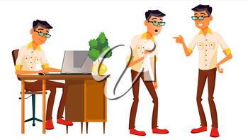 Office Worker Vector. Thai, Vietnamese. Facial Emotions, Gestures. Business Person. Poses. Animated Elements. Career. Modern Employee Workman Laborer Isolated Flat Cartoon Character Illustration