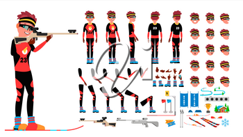 Biathlon Player Male Vector. Animated Character Creation Set. Man Full Length, Front, Side, Back View, Accessories, Poses, Face Emotions, Gestures Isolated Illustration