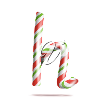 Letter H Vector. 3D Realistic Candy Cane Alphabet Symbol In Christmas Colours. New Year Letter Textured With Red, White. Typography Template. Striped Craft Isolated Object. Xmas Art