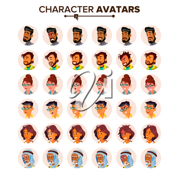 People Avatar Set Vector. Man, Woman. Default Placeholder. Colored Member. User Person. Expressive Picture. Round Portrait. Comic Face Art. Cheerful Worker. Flat Cartoon Character Illustration