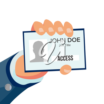 Businessman Holding Id Card Vector. Hand And Identity Card With Photo And Job Title. Security Pass Id Card. Flat Business Cartoon Isolated Illustration
