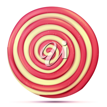 Lollipop Isolated Vector. Classic Sweet Realistic Candy Abstract Spiral Illustration