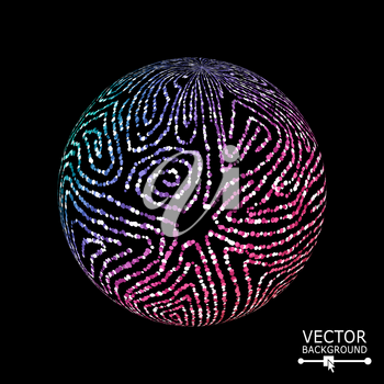 Sphere Background With Swirled Stripes. Vector Glowing Composition.
