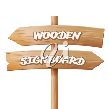 Wooden Signboards Vector. Old Geometric Sign Stand Cartoon Style.