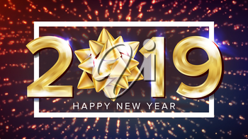 2019 Happy New Year Background Vector. Holiday Of 2019 Year. Premium Luxury. Merry Christmas. Illustration