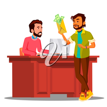 Corruption, Man Giving Money To Chief Sitting In Chair At The Table In Office Vector. Illustration