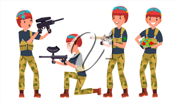 Paintball Player Vector. Professional Gamer. Bright Splashes. Uniform. Competitions. Paintball Weapon. Man Paintball Player. Flat Cartoon Illustration