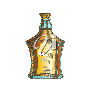 Drawn Scotch Bottle With Style Cork Cap Vector. Ink Design Sketch Bottle Of Traditional Alcoholic Scotland Drink. Concept Color Flask With Blank Label Template Illustration