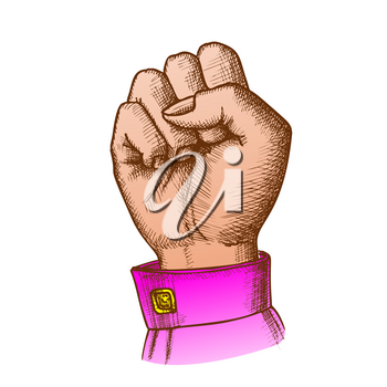 Woman Hand Clenched Finger In Fist Gesture Vector. Female Arm Gesture Showing Sign Power Or Disagree. Girl Wrist Gesturing Signal Color Designed In Vintage Style Closeup Illustration