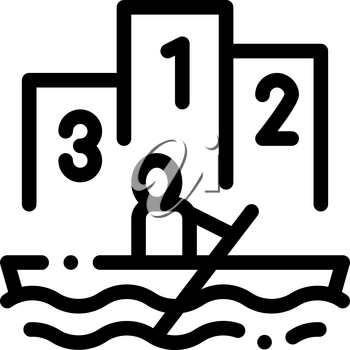 Boat Rowing Competition Canoeing Icon Vector Thin Line. Contour Illustration