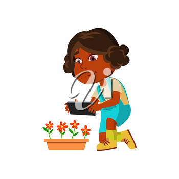 Girl Child Make Photography On Smartphone Vector. African Preteen Lady Making Photo Shoot On Smartphone Camera Flowers For Social Media. Character With Electronic Gadget Flat Cartoon Illustration