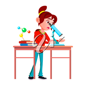 Schoolgirl Scientist Research By Microscope Vector. Expressive Caucasian School Girl Scientist Researching And Analyzing With Laboratory Equipment. Character Researcher Flat Cartoon Illustration