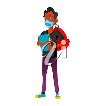 Teen Boy Wearing Facial Mask Go To College Vector. Teenager Student With Mask On Face, Backpack And Book Going To University. Character Health Protect Medical Accessory Flat Cartoon Illustration