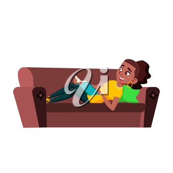 Teenager Girl Reading Funny Book On Couch Vector. African Teen Lady Laying On Sofa Furniture And Read Interesting Comedy Story In Book. Character Enjoying Flat Cartoon Illustration