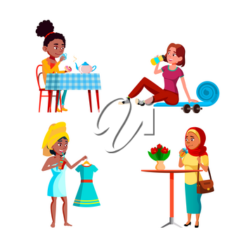 Teen Girls Drinking Freshness Drinks Set Vector. Teen Girls Drinking Fresh Water After Training And Delicious Hot Tea Breakfast, Juice And Cocktail In Cafe. Characters Flat Cartoon Illustrations