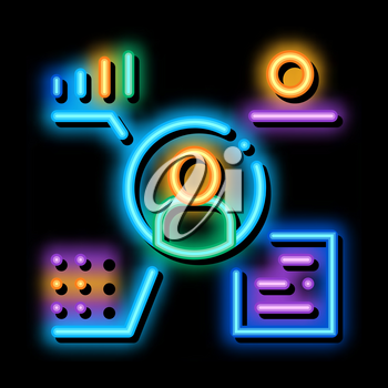 full electronic information about person neon light sign vector. Glowing bright icon full electronic information about person sign. transparent symbol illustration