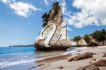 Unusual Rock Fornation at Cathedral Cove near Hahei in New Zealand