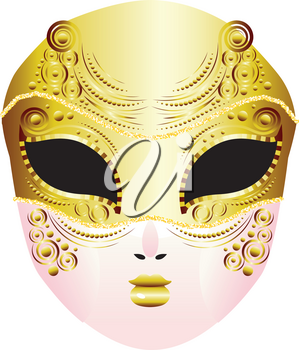 Fashion decorative carnival face mask illustration, masquerade mask design.