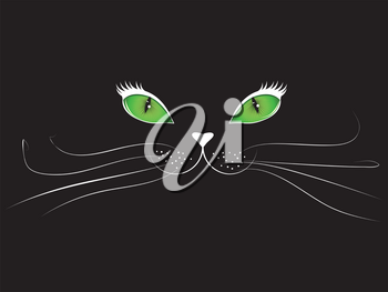 Green eyed cartoon cat face on black background.