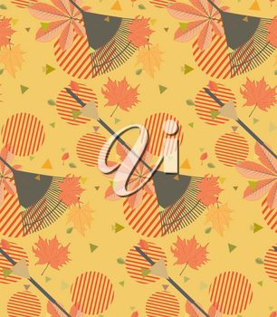 Autumn fallen leaves with rake design illustration.
