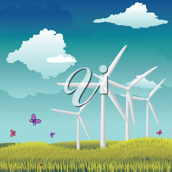 Eco power, wind turbines in the field, alternative energy source technology.