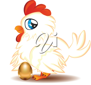 Cute cartoon white hen with blue eyes and gold egg.