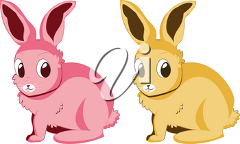 Two cartoon bunnies of pink and yellow colors.