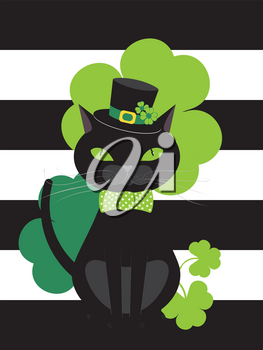 Cartoon black cat wears bow tie and hat with green shamrock design.