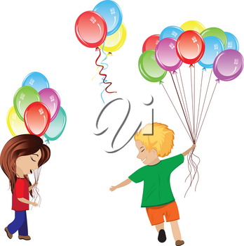 Happy boy and girl with bunch of colorful inflatable balloons.