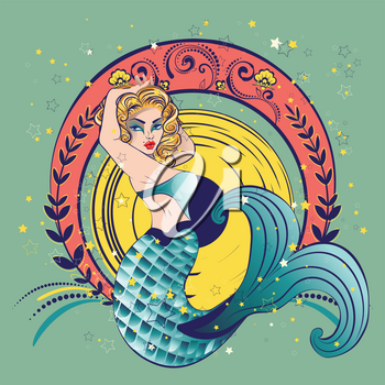 Fantasy creature mermaid with blond hair and fish tail.