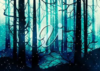 Winter foggy forest at night with trees silhouettes illustration.
