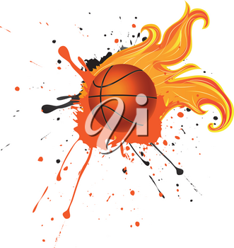 Grunge background with basketball ball with flame and spatters.
