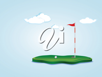 Stylized golf yard illustration, ball, flagstick and hole based on a little piece of ground.