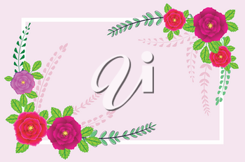 Colorful decorative banner with bright flowers, floral background design.