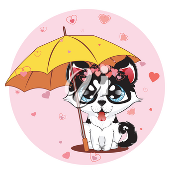 Cartoon siberian husky with hearts, cute Valentines day dog.