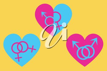 Symbolic gender signs inside of a heart, homosexual relationship, LGBTQ.