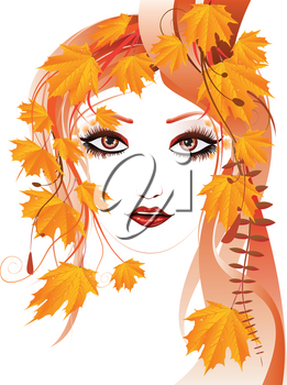 Portrait of an abstract floral girl with autumn maple leaves.