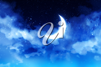 Fantasy crescent moon on blue starry sky with clouds background.