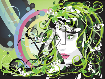 Illustration of spring girl portrait with green florals.