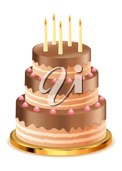 Delicious chocolate cake with candles on white background.