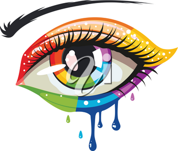 Female eye in rainbow colors, melting paint makeup.