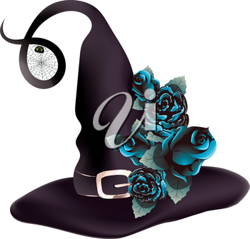 Dark purple witch hat decorated with with blue roses and spider web.