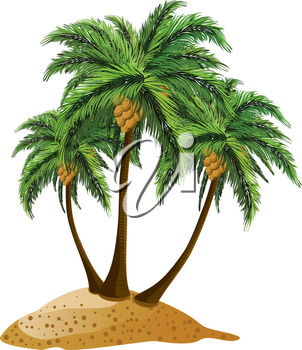 Small cartoon island and three palm trees over white background.