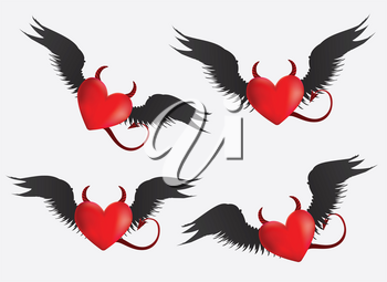 Set of red devil hearts with black wings on light grey background.