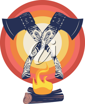 Grunge design of two crossed axes and campfire, retro style illustration.