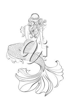 Fantasy mermaid sitting, view from a back, abstract illustration.